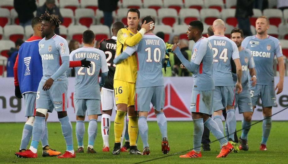 Les Monégasques lors de la victoire en quarts de finale face à Nice.