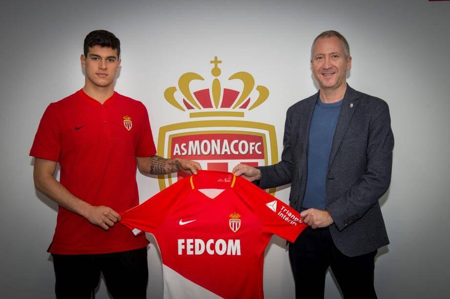 Vadim Vasilyev, vice-président directeur général de l'AS Monaco et le phénomène Pietro Pellegri.