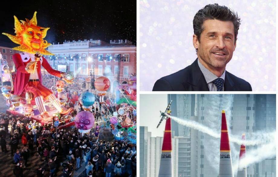 Le carnaval de Nice, Patrick Dempsey à Canneseries ou le show d'aviation à Cannes, trois temps forts de la Côte d'Azur en 2018.
