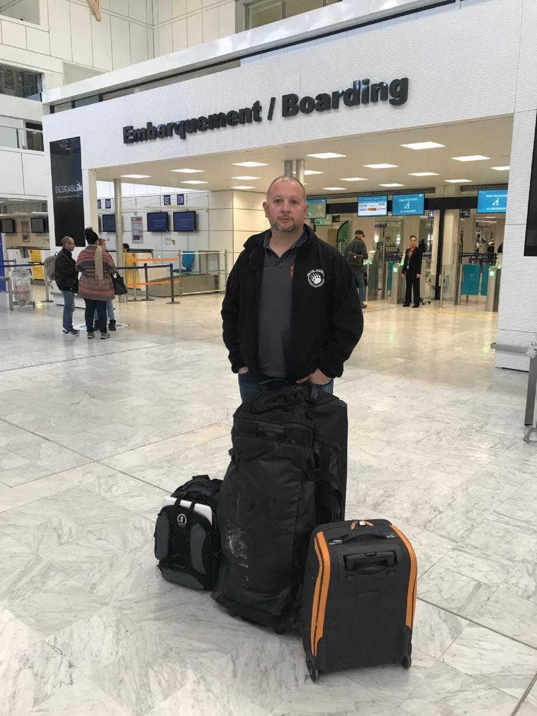 Le photographe levensois, Jean-David Murrau, lors de son récent départ pour «le froid».(DR)