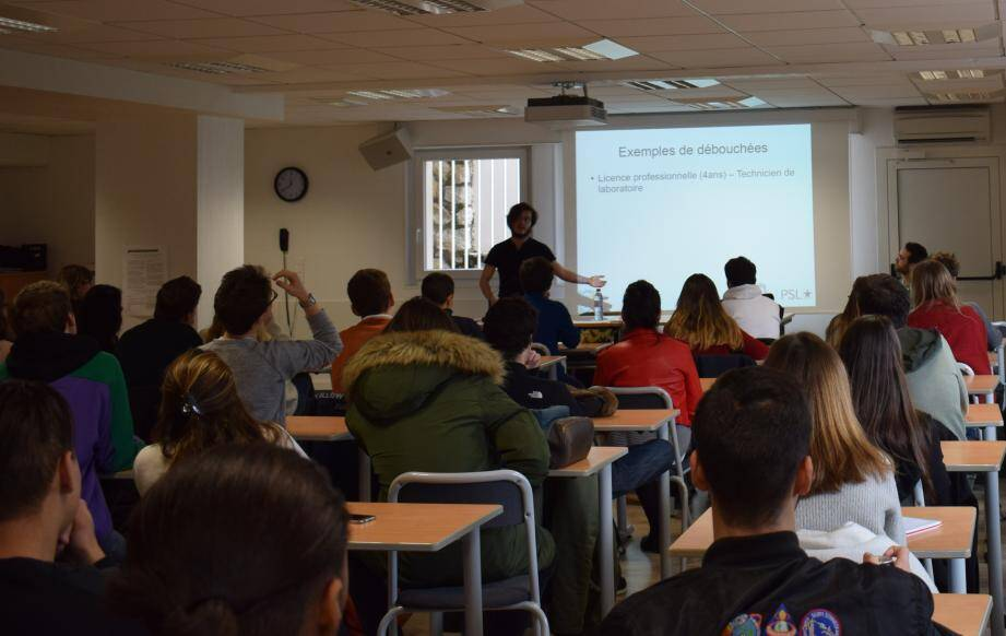 Les lycéens sont en pleine discussion avec des étudiants de l'école supérieure des sciences commerciales d'Angers.