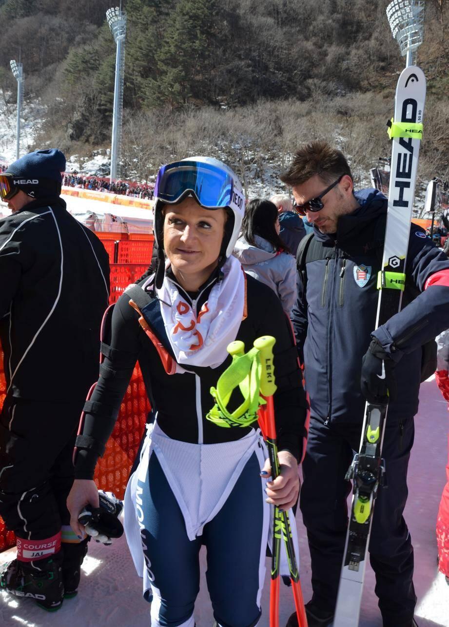 La skieuse Alexandra Coletti en lice aujourd'hui dans l'épreuve reine du ski alpin : la descente.