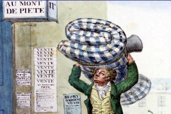 Le prêt sur gage  a été inventé en Italie, avant d'être expérimenté puis installé en France.