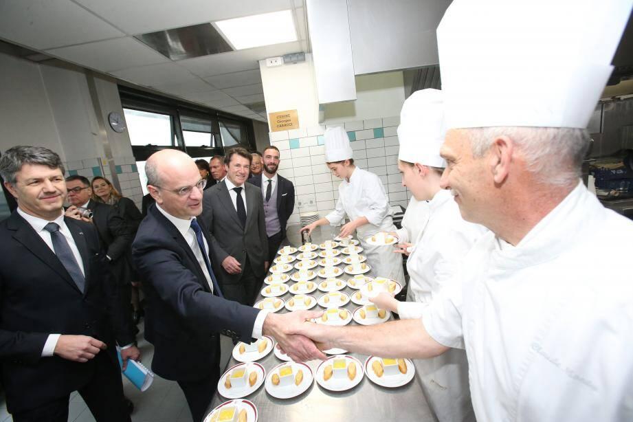Jean -Michel Blanquer, ministre de l'Education nationale, lors d'une visite au lycée Paul-Augier de Nice.
