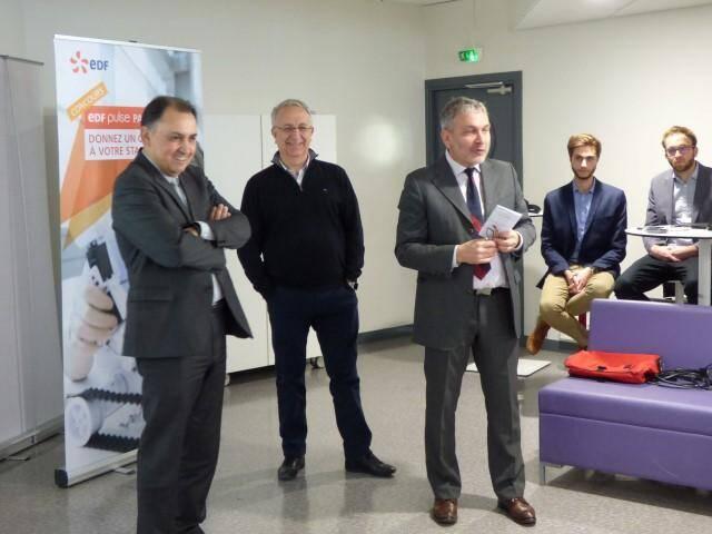 (De gauche à droite) Jacques-Thierry Monti, délégué régional d'EDF Paca, Patrick Valverde, directeur de TVT Innovation, et Philippe Berthelot, chargé de mission innovation chez EDF à la délégation régionale, venus présenter le concours et lancer un appel aux startups.