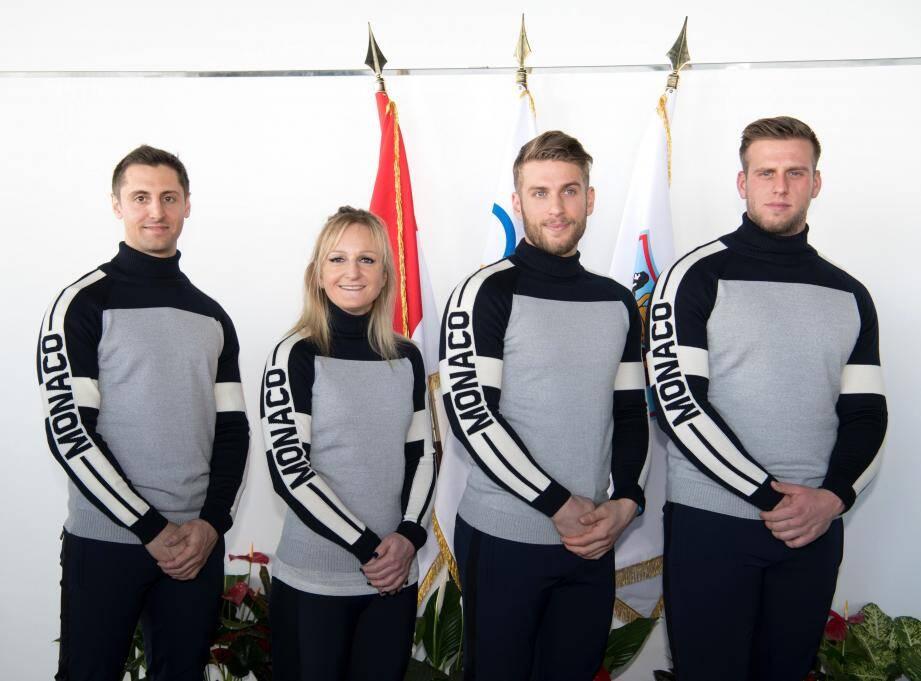Olivier Jenot, Alexandra Coletti, Rudy Rinaldi et Boris Vain, les quatre athlètes monégasques qui ont pris part à ces Jeux Olympiques d'hiver de Pyeongchang.