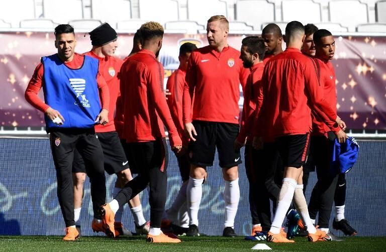 L'AS Monaco à l'entraînement avant la finale de Coupe de la Ligue.