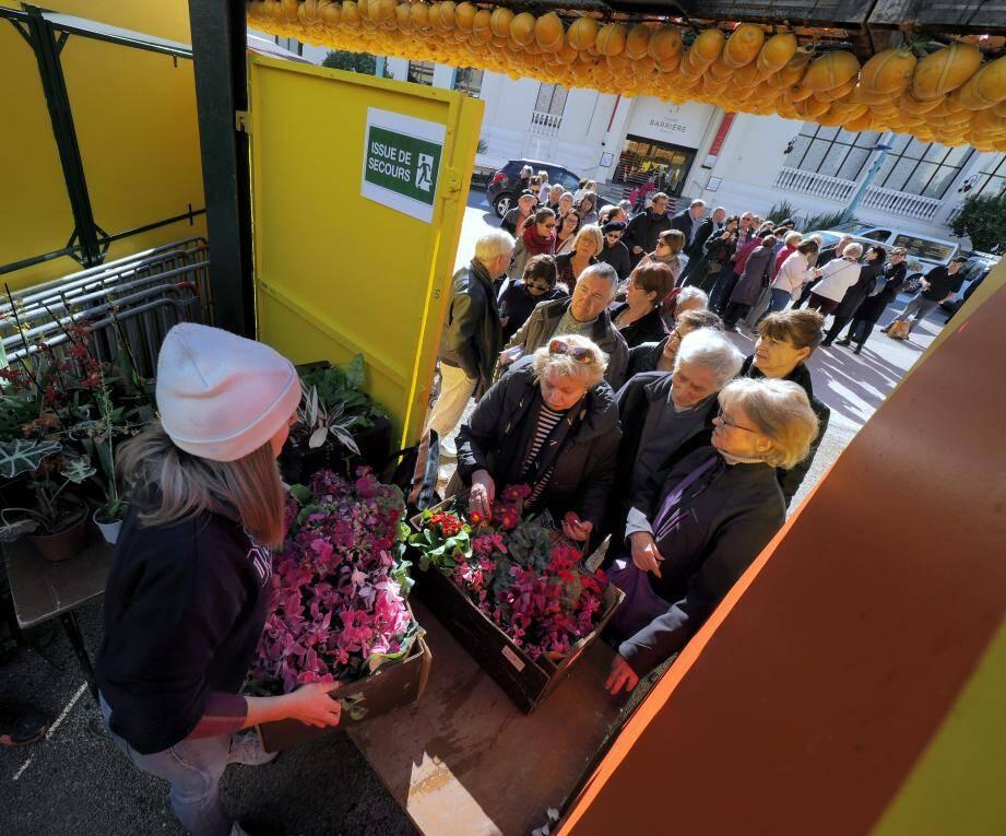 Dès l'ouverture de la vente, une longue file d'attente s'était déjà formée à l'entrée des jardins Biovès.
