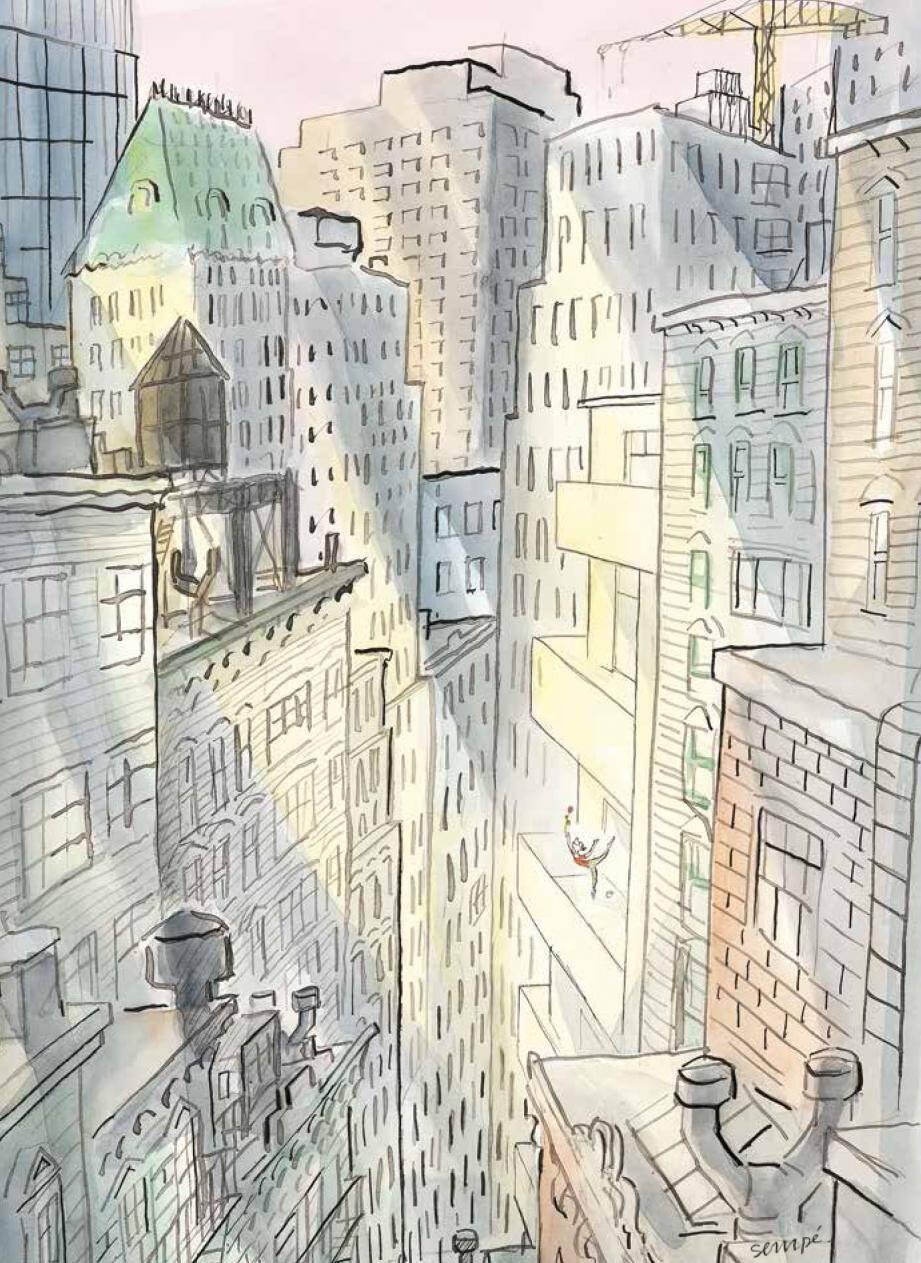 Le décor imaginé par Karl Lagerfeld, pour l'entrée et la salle des Etoiles, s'appuie sur des dessins de Sempé, illustrateur notamment du New Yorker.