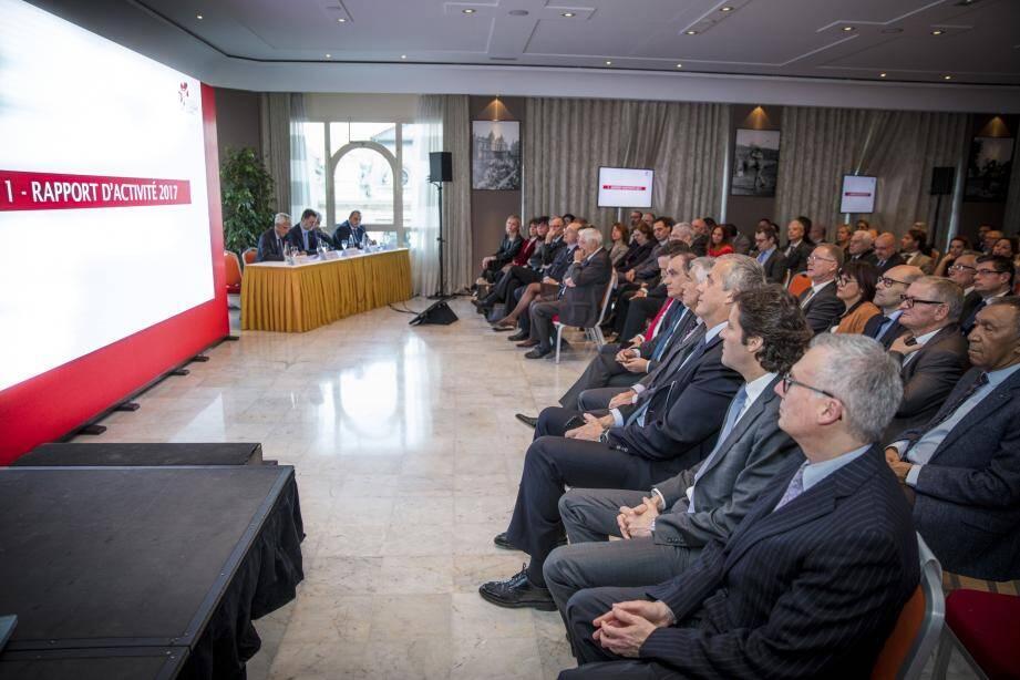 L'assemblée générale du Monaco Economic Board s'est déroulée au salon Bellevue du Café de Paris. À cette occasion, Michel  Dotta (à gauche) a présenté les bons résultats de 2017 et le programme tout aussi actif de 2018.