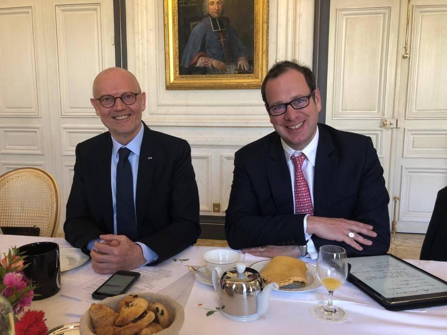 Le ministre d'État Serge Telle et son délégué interministériel chargé de la transition numérique Frédéric Genta.