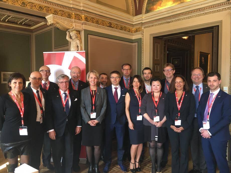 La délégation d'entrepreneurs monégasques, hier à Stockholm pour prendre part à la première mission du Monaco Economic Board, en Suède.
