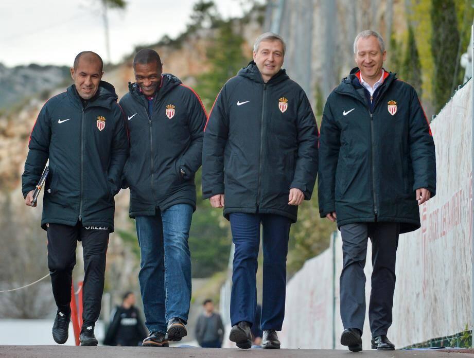 L'état-major de l'ASMonaco a assisté, au complet et tout sourire, au dernier entraînement avant le choc contre le PSG,jeudi matin à La Turbie.