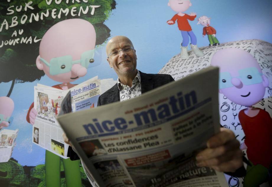 Patrick Moya, sur le stand Nice-Matin de la foire de Nice.