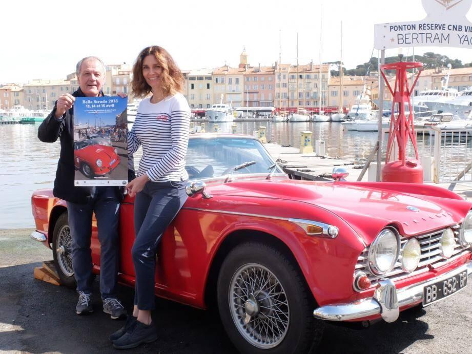 François Michiels et Cécile Ballarel, qui présentera cette sublime Triumph TR4 IRS de 1965.(S. A.)