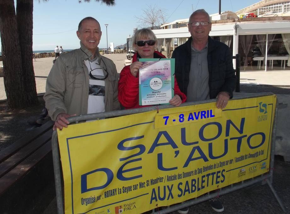 """Les représentants de l'association """"Plurielle 83"""" et Bernard Bénet, président des commerçants du Sud, vous attendent autour d'un salon de l'auto et de la moto, et d'un marché d'art."""
