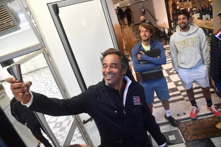 Un selfie pour l'histoire ? Noah, Pouille et Chardy, hier à Gênes.