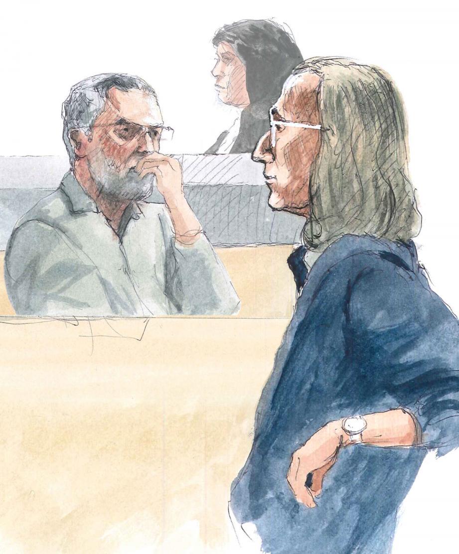 Yves Duschenes (à droite) a vu sa peine aggravée en appel à Aix-en-Provence. (Croquis d'audience Rémi Kerfridin)