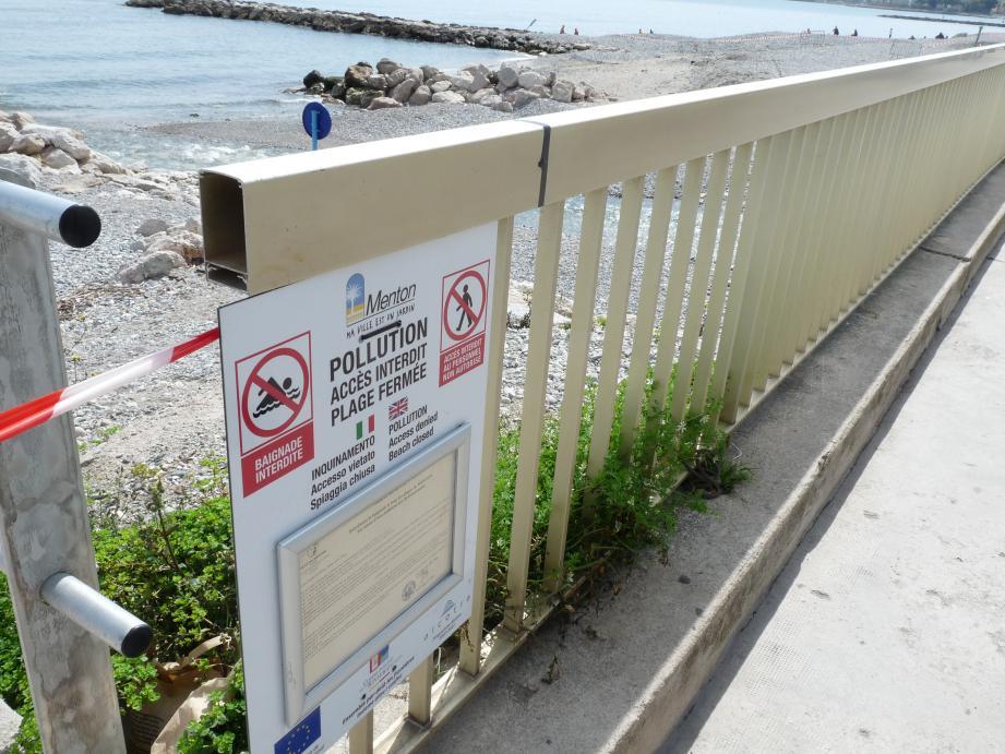 Pendant 24 heures (jusqu'à cet après-midi), les plages de Menton comprises entre le Casino et le Fossan sont inaccessibles et interdites à la baignade, à la suite d'une pollution aux hydrocarbures, provenant probablement du vallon du Careï.