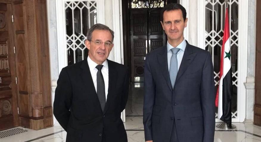 Thierry Mariani lors de sa dernière rencontre avec Bachar al-Assad, en novembre dernier.