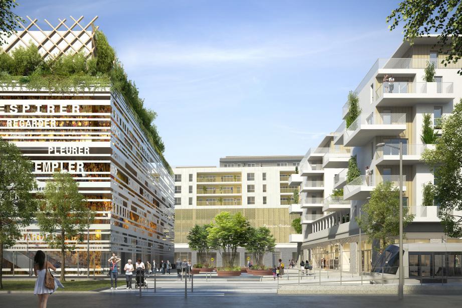 Autour d'une place centrale arborée et cœur battant du projet, le multiplexe (à gauche), des logements en accession à la propriété libre et à coût maîtrisé (à droite) et des logements sociaux au-dessus du parking-relais et du Lidl (au fond). )