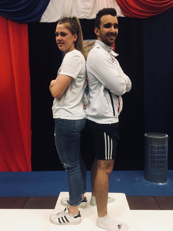 Emmanuelle Ronco et Guilhem Folcher, de l'ESVL muscu-gym, ce week-end, durant les championnats de France d'haltérophilie auxquels ils ont participé, au gymnase Monique-Maurice, de Villeneuve.