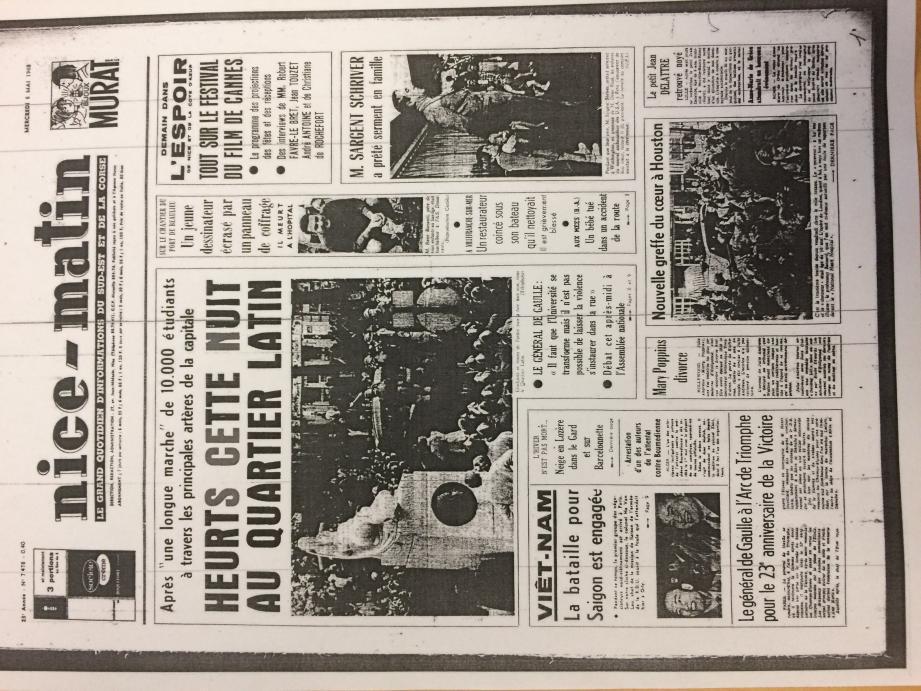 A la « Une » de Nice-Matin du 8 mai 1968 : à Paris, les étudiants sont en marche. Mary Poppins divorce (!) et le festival de Cannes s'annonce...(Repro DR)