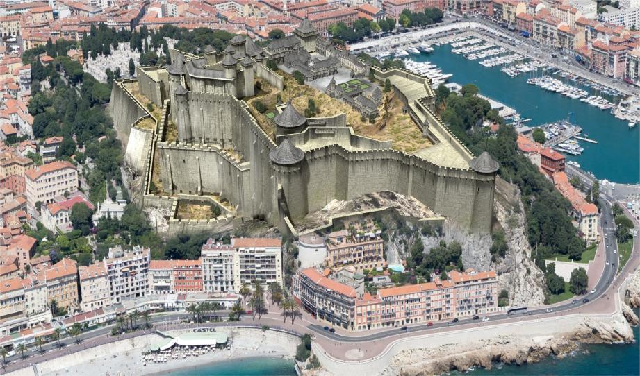 Grâce à des plans et des gravures anciennes, il a pu reproduire ce château fort détruit en 1 706. (Image de synthèse Florent Pey/Akg-images)