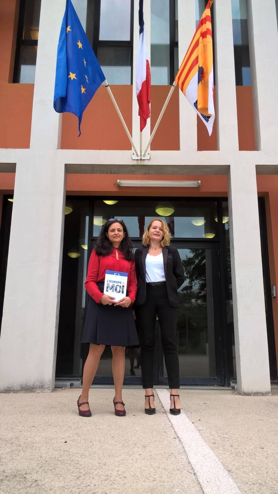Isabelle Magne, aux côtés de la proviseur adjointe Céline Bartoletti, travaille à la Commission européenne, auprès de Cecilia Malmström (ci-dessus).