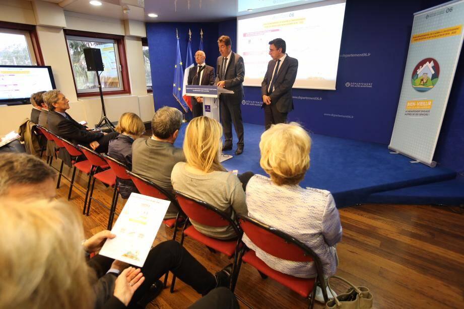 Eric Ciotti, Charles-Ange Ginésy et Philippe Rossini ont détaillé hier l'engagement du Département. (DR)