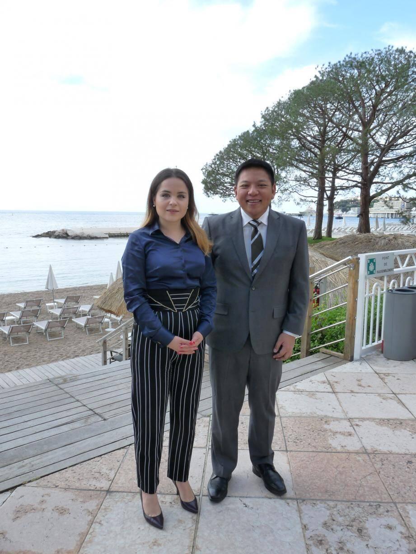 Le président de la JCI, Marc Brian Lim, reçu vendredi par la présidente de la JCEM, Olena Prykhodko.