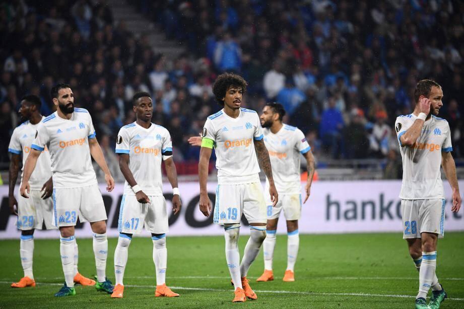 Les joueurs de l'OM après le deuxième but d'Antoine Griezmann.