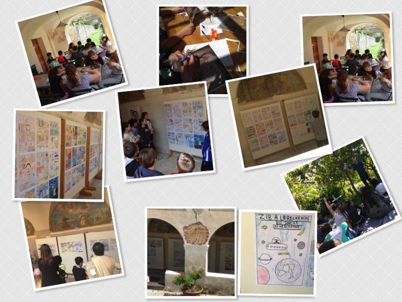 Les élèves ont pu présenter leurs œuvres après avoir travaillé le matin sur les fresques du cloître.(DR)