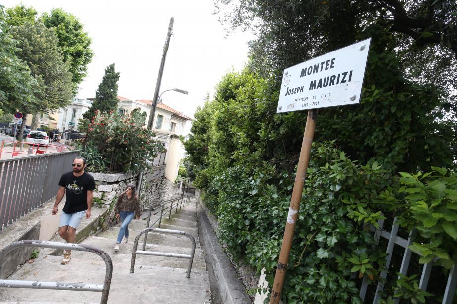 La montée Joseph-Maurizi qui devrait être fermée, entre 7 h et 20 h, à cause  d'un problême d'insalubrité et de fréquentation.