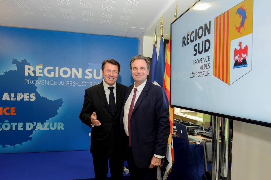 Renaud Muselier et Christian Estrosi ont lancé hier, à Paris, la marque Région Sud-Provence-Alpes-Côte d'Azur. Elle va entre autres permettre de mieux identifier la Région par rapport au reste de la France et de mieux vendre cette destination aux touristes.