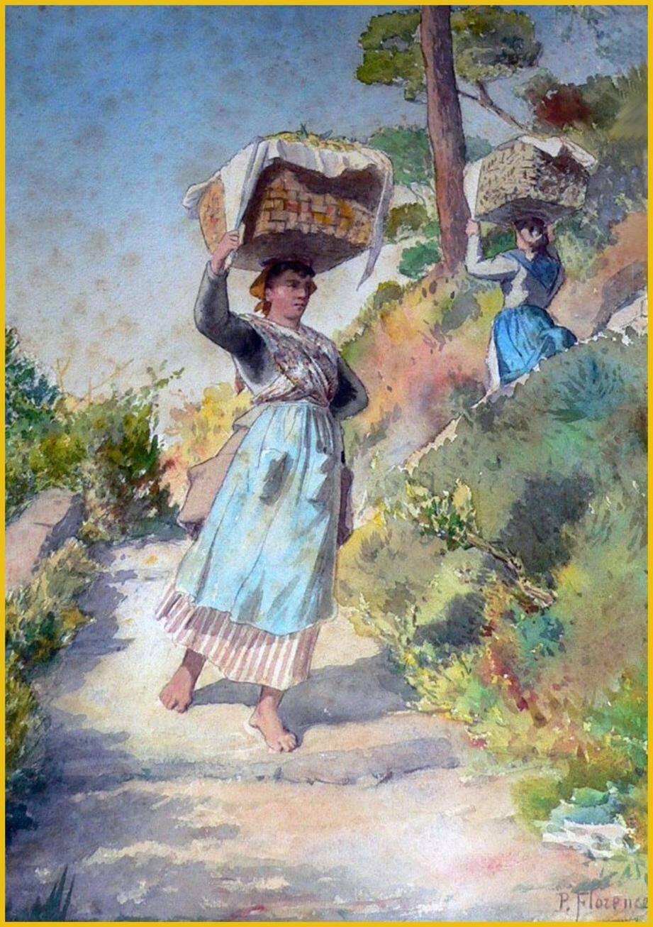 Aquarelle de Philibert Florence intitulée «Paysan... retour de la cueillette des citrons».(DR)