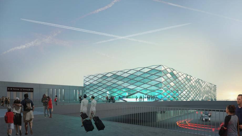 Voilà à quoi pourrait ressembler le nouveau bâtiment terminal, à l'horizon 2023. (Image de synthèse Saca)