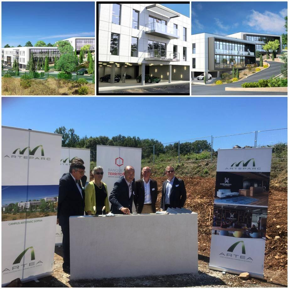 La pose de la première pierre du Campus Arteparc qui s'étalera sur 16 500 m2.Ce premier Smart Grid privé à Biot est un choix logique, selon le pdg d'Artea puisque la technopole dispose de 300 jours de soleil par an.