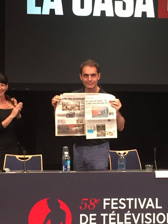 Pedro Alonso, jouant le rôle de Berlin dans la série officielle, s'est amusé de découvrir les premières images de la parodie des Antibois dans Nice-Matin.