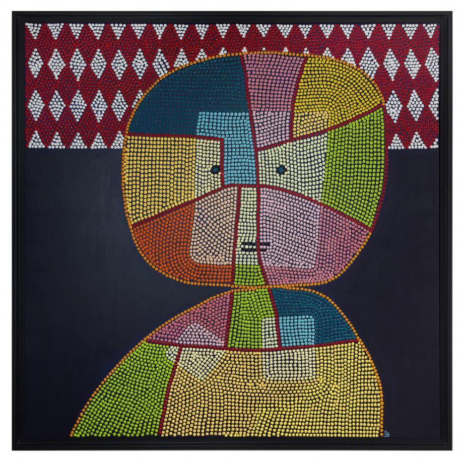 La technique utilisée pour le tableau CHILD est inspirée des arts aborigènes. (©Laure Hatchuel-Becker)