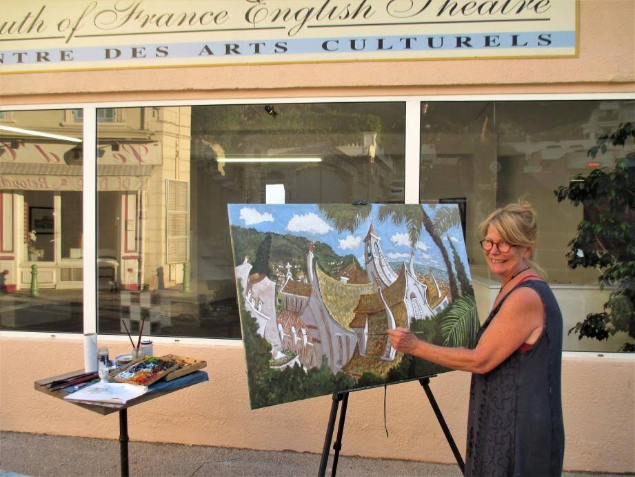 L'artiste peintre Linda Mac Cluskey a participé la première soirée des Nocturnes, rue Saint-Sauveur, avec le Set Théâtre.