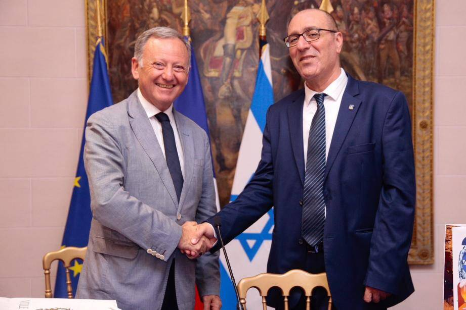 Rudy Salles et Eli Lankri, adjoints aux maires de Nice et d'Eilat.