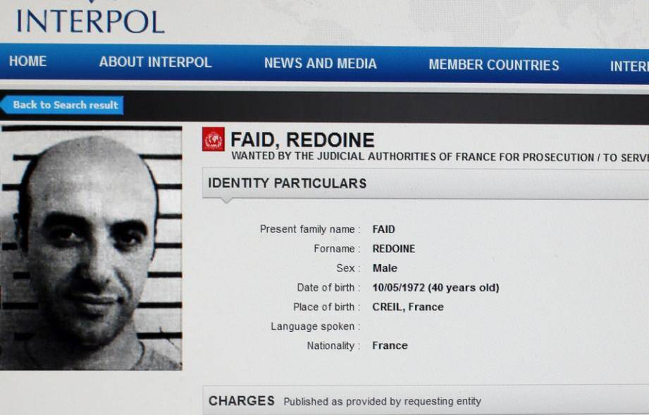 La fiche Interpol de Redoine Faïd.