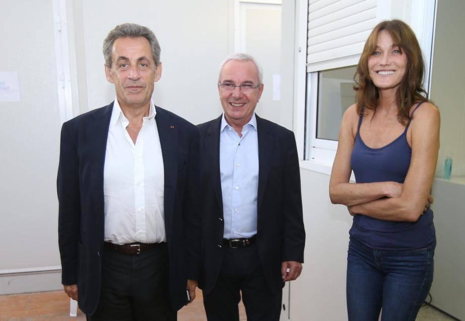 Nicolas Sarkozy, Jean Leonetti et Carla Bruni lors de Jazz à Juan le mardi 17 juillet 2018