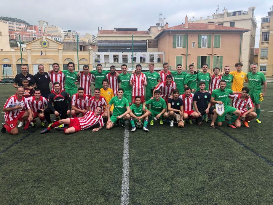La sélection monégasque lors d'un match amical contre l'équipe italienne de Piacenza, au stade des Moneghetti.