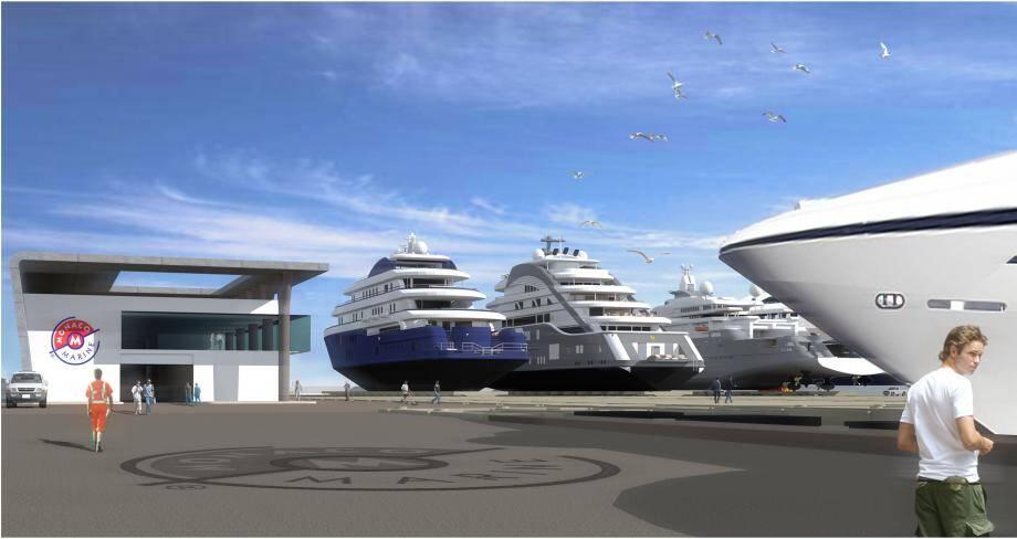 Sur 50.000m² prendront place un bâtiment de deux niveaux avec ateliers, bureaux et zone d'accueil équipages, un ascenseur de 6.000 tonnes et jusqu'à 4 places à terre pour des yachts de 130 mètres.