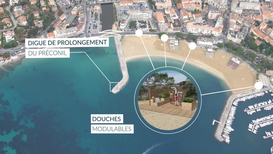 Sur la plage du centre-ville, une digue devrait être construite dans le prolongement du Préconil dans le but de limiter l'ensablement. Un phénomène qui obstrue actuellement l'embouchure du fleuve.(Illustrations DR)