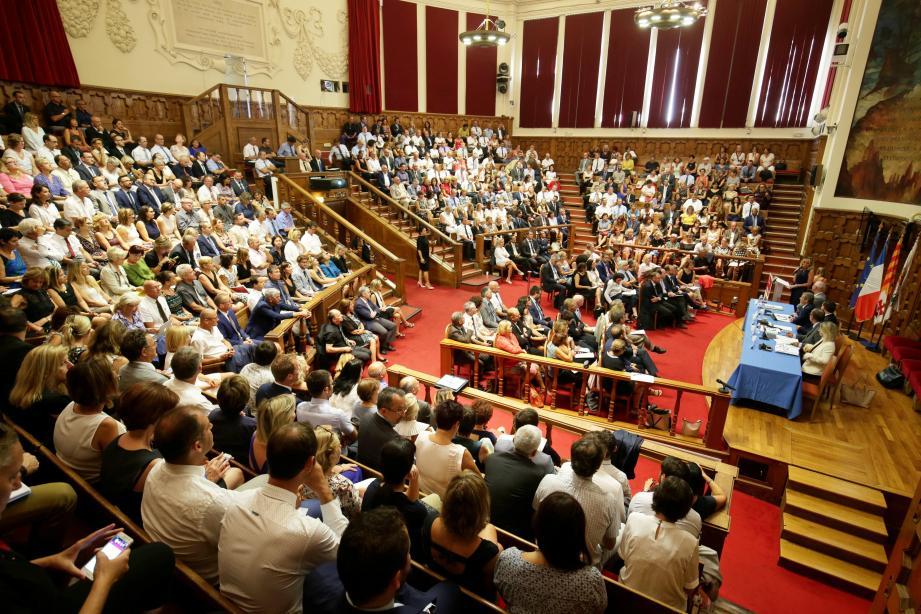 L'amphi du CUM au complet, hier matin, avec 500 chefs d'établissement des A.-M et du Var qui ont assité à la présentation de la rentrée par le recteur, Emmanuel Ethis.