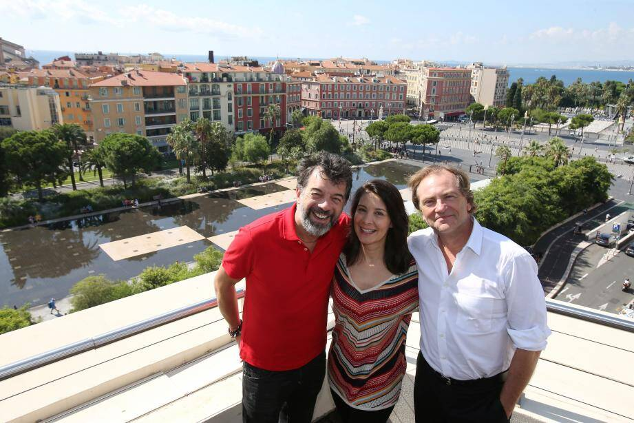 Stéphane Plaza, Virginie Visconti (actrice et productrice du film) et Didier van Cauwelaert, il y a quelques jours, à l'hôtel Aston la Scala.