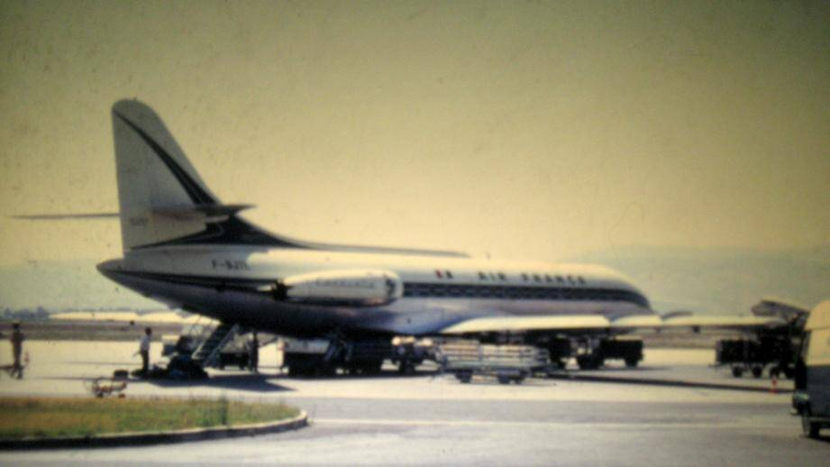 La caravelle F-BOHB avant son décollage de l'aéroport d'Ajaccio, le matin de la catastrophe.